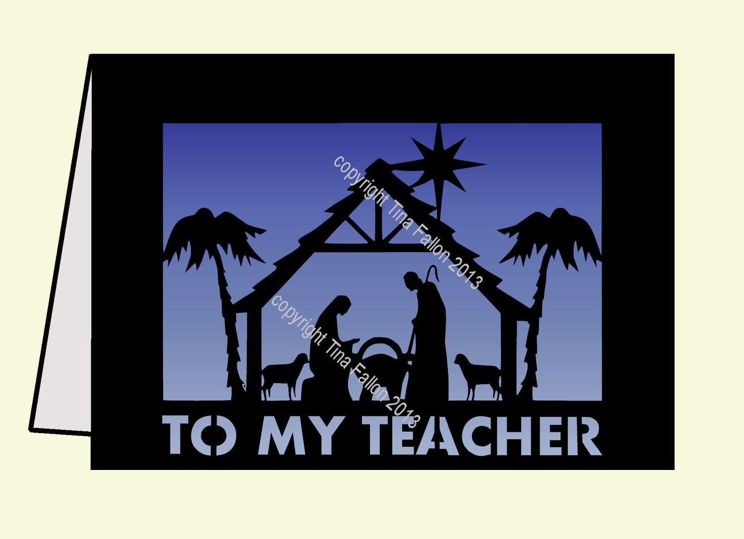 To My Teacher Manger Scene Card Template