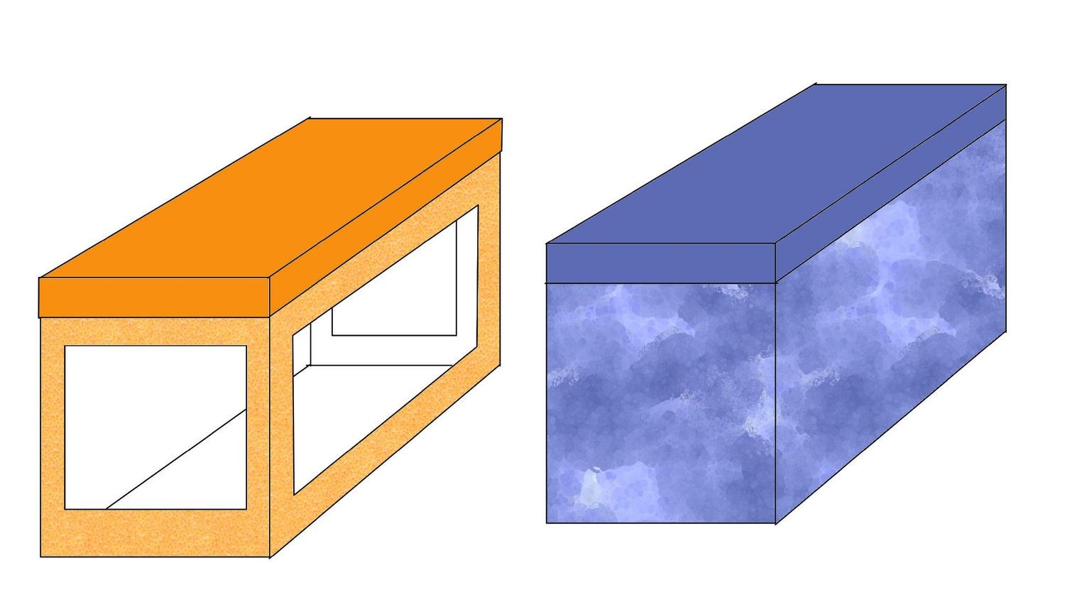 Boxes x 2 (with or without windows) 5h x 5d x 4w inches