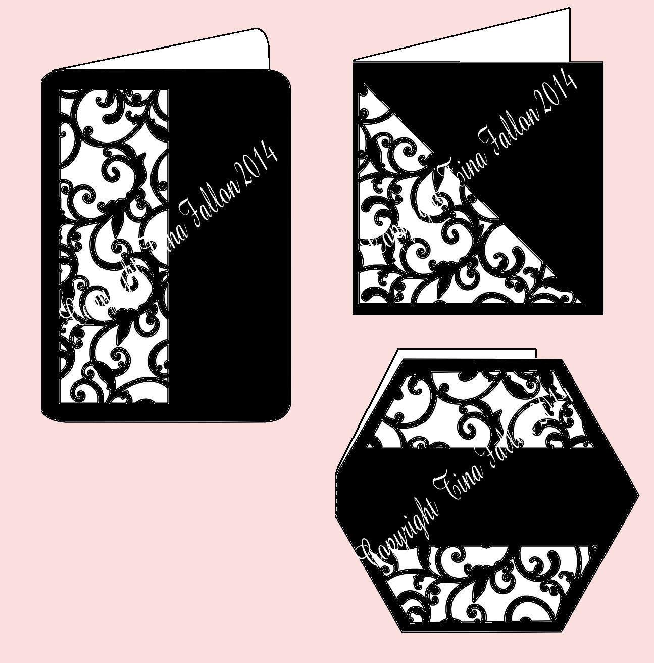 Set Of 3 Pretty Filigree Design Cards