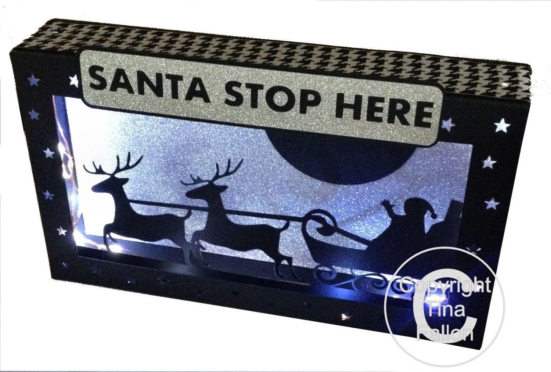 Santa Christmas Eve Scene In A Box .