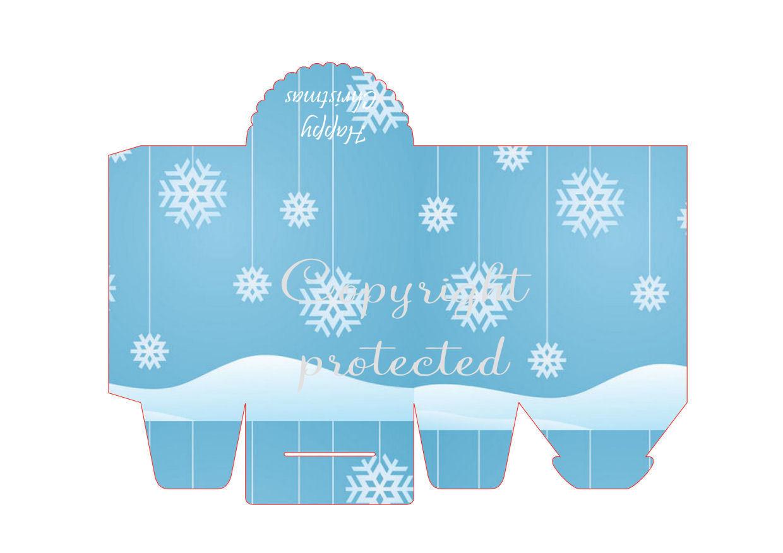 Snow and Snowflakes - Christmas Bag / Box  Print N cut for Cameo