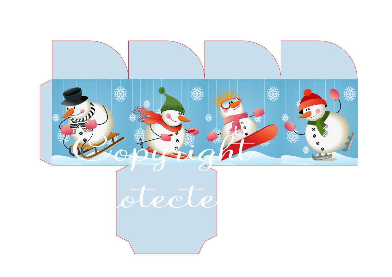 Fun on Snow Friends Christmas Treat Box  Print N cut for Cameo