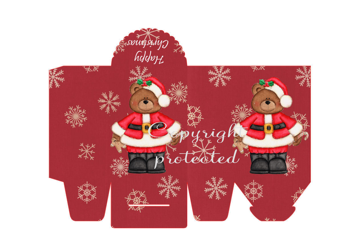 Santa Bear with Snowflakes - Christmas Bag / Box  Print N cut for Cameo