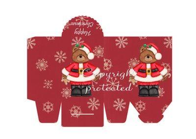 Santa Bear with Snowflakes - Christmas Bag / Box  Print N cut for Cameo