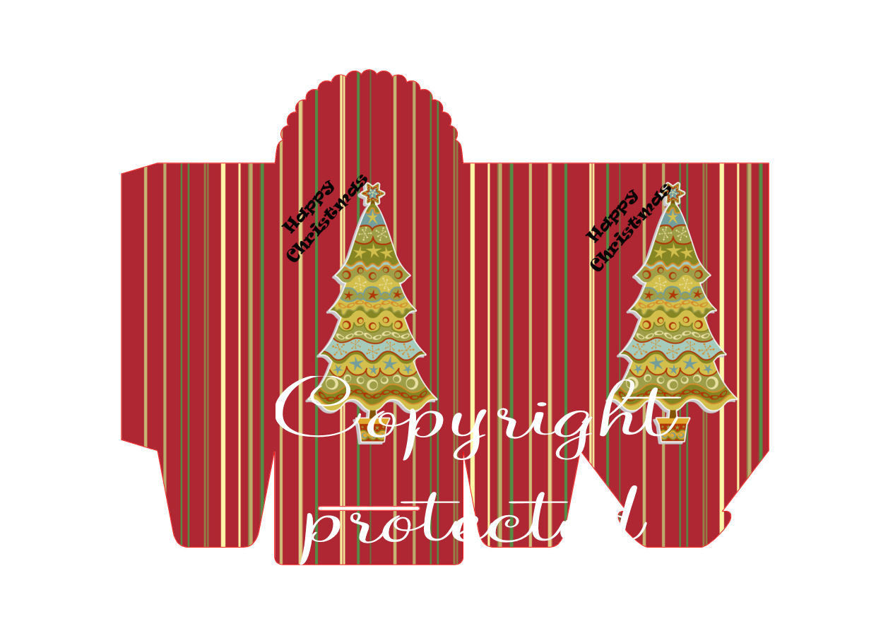 Tree on Stripes - Christmas Bag / Box  Print N cut for Cameo