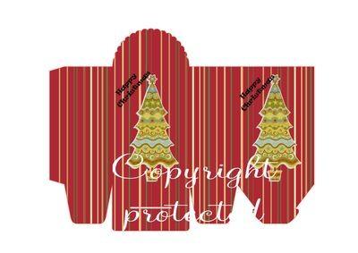 Tree on Stripes - Christmas Bag / Box  Print N cut for Cameo