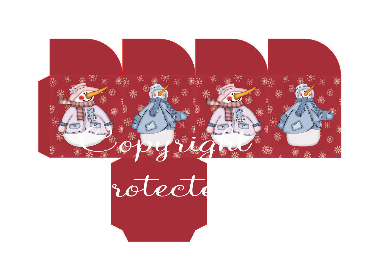 Snowpeople on red Christmas Treat Box  Print N cut for Cameo