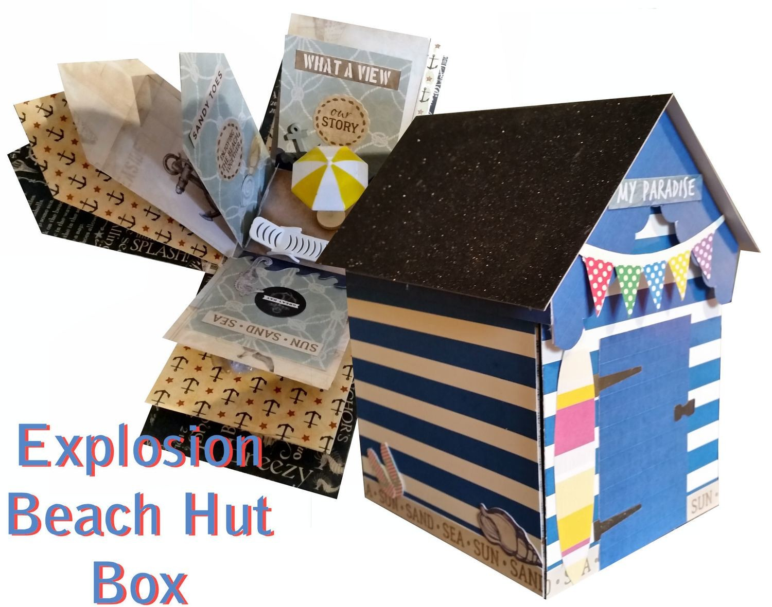 Beach Hut Explosion / Exploding Box with extras from 12x12 and A3 card