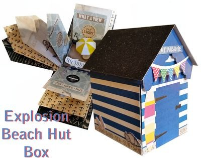 A4 PDF handcut  Beach Hut Explosion / Exploding Box with extras