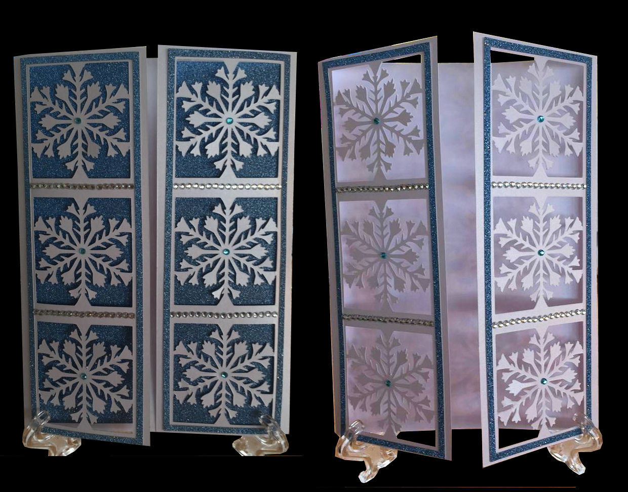 Frozen Snowflake Christmas panelled Gatefold Card