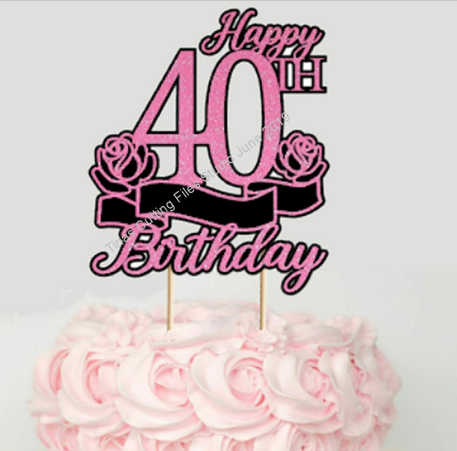 Pleasant 40Th Birthday Cake Card Topper Layered Funny Birthday Cards Online Elaedamsfinfo