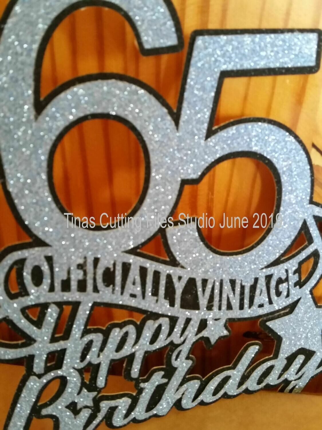 65th officially Vintage  Birthday Cake / Card topper  layered