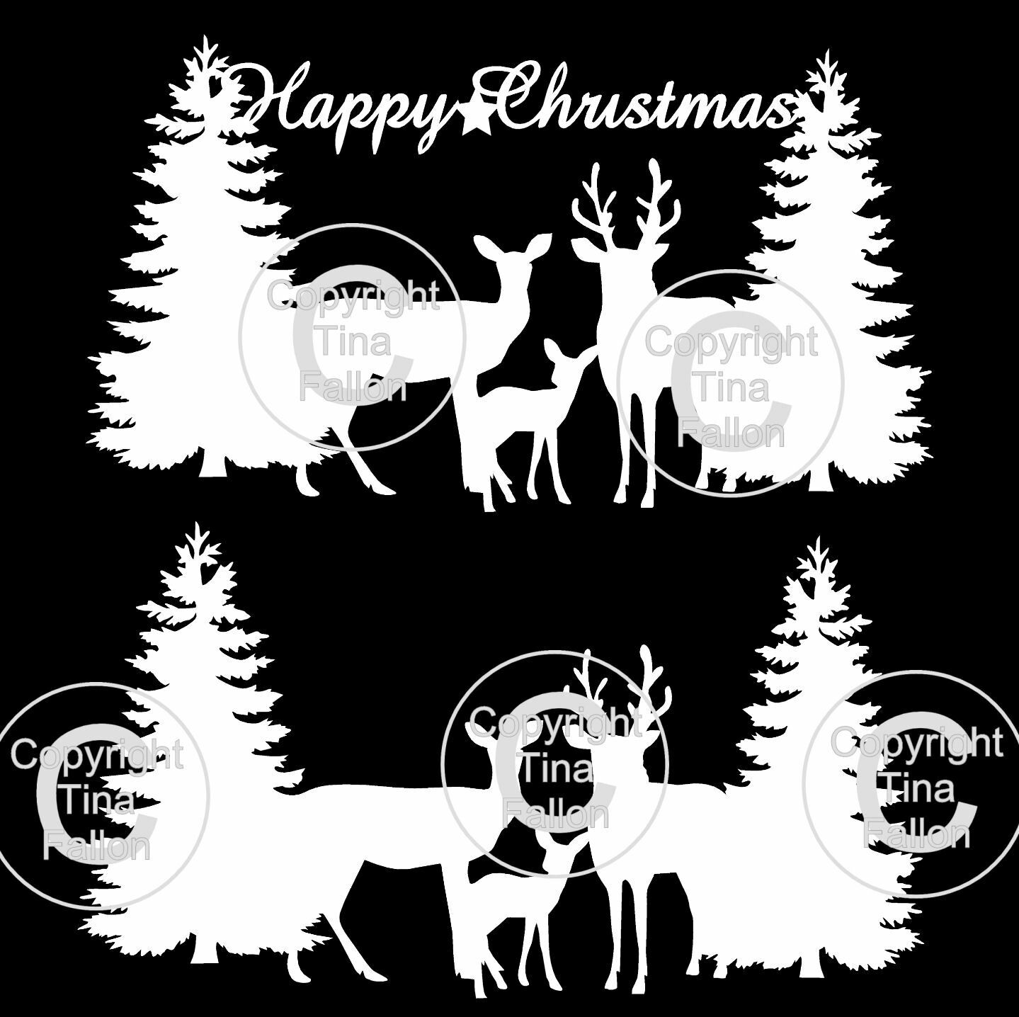 Deer In Forest Christmas Toppers x 2