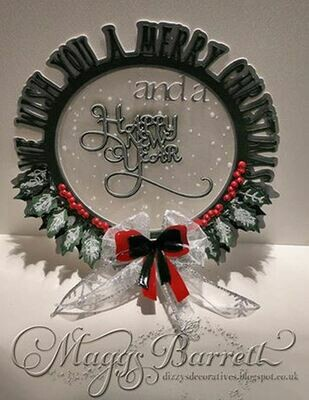 Layered We Wish You A Merry Christmas Holly card