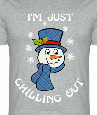 Christmas Snowman Just Chilling out  - knock out layered ready.