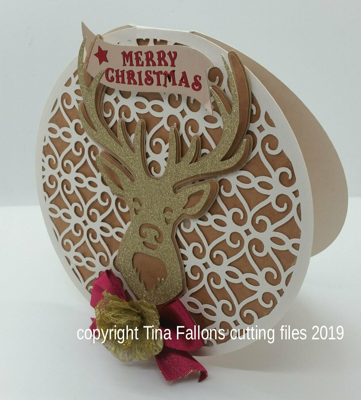 Deer Christmas Card  Round Card
