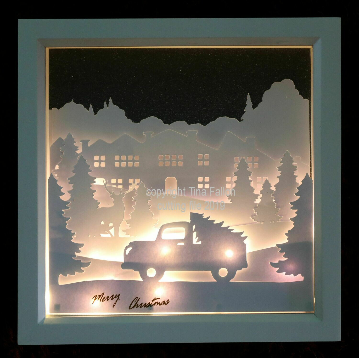Red Truck Driving Home for Christmas Scene - Multi layered & suitable for Shadow Box frame