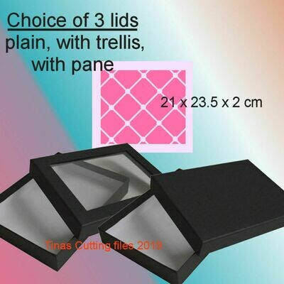 Box with choice of 3 lids pre-sized to 21 x 32.5 x 2cm
