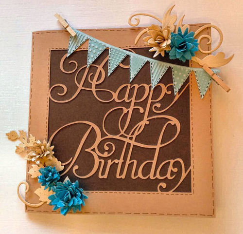 Happy Birthday 1  Card Template  SVG FILE FORMAT