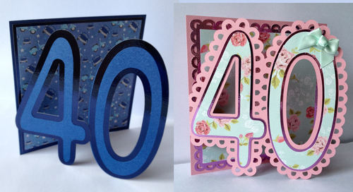 40th Shaped Card Templates x 2 cards  (with layering)