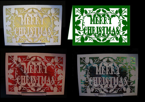 Card Template Merry Christmas and Holly 3