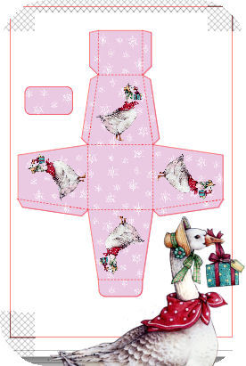 Goose on Pink Snowflakes  Christmas Treat Box  Print N cut for Cameo