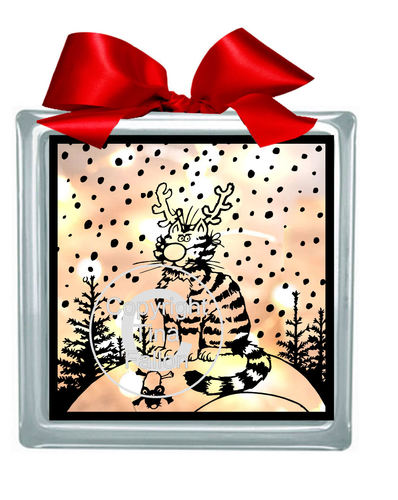 Christmas Cat and Mouse  Glass Block Tile Design 6x6 inches