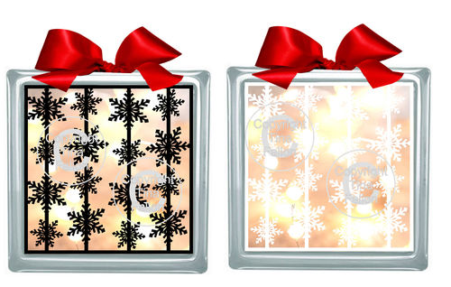 Snowflake Garlands  Glass Block Tile Design 6x6 inches