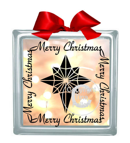 Christmas Star Glass Block Tile Design 6x6 inches