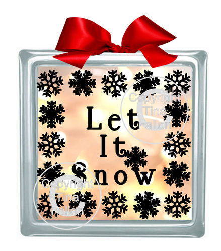 Let It Snow Glass Block Tile Design 6x6 inches