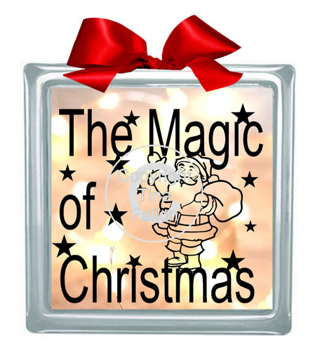 Santa ' The Magic Of Christmas' Glass Block Tile Design 6x6 inches