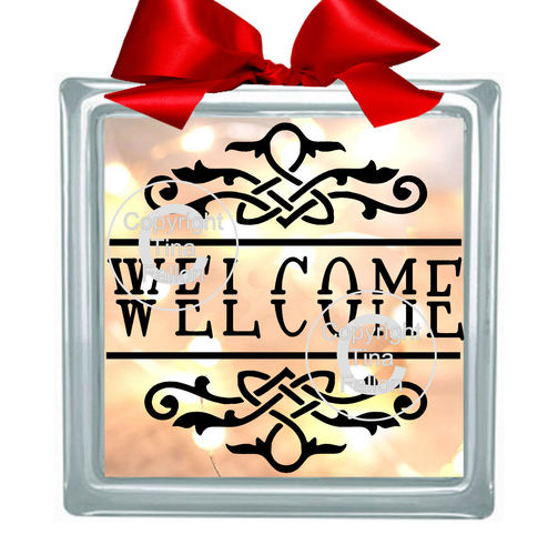 WELCOME  Glass Block Tile Design 6x6 inches  SVG