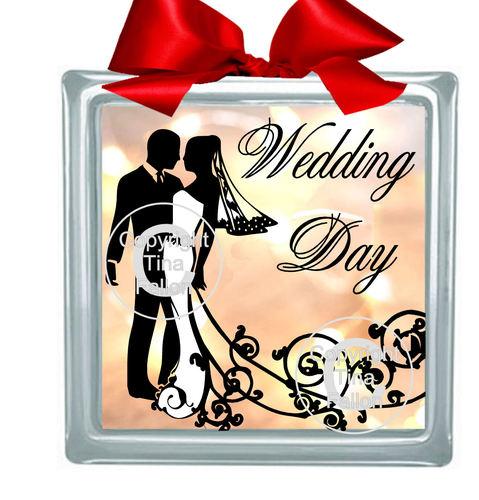 WEDDING COUPLE 2 (WHITE DRESS) Glass Block Tile Design 6x6 inches please read info