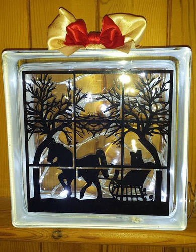 Horse Ride Through A Window  Glass Block Tile Design 6x6 inches