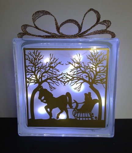 Horse Ride  Glass Block Tile Design 6x6 inches