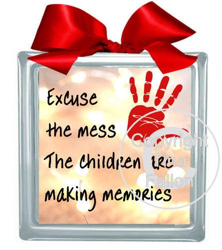 Children Making Memories vinyl and glass blocks, frames etc