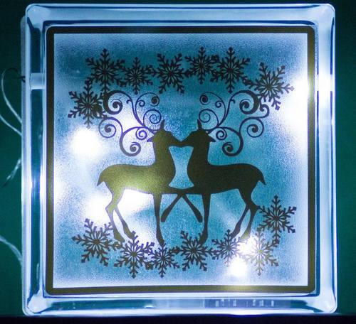 Reindeer and snowflakes  Glass Block Tile Design 6x6 inches