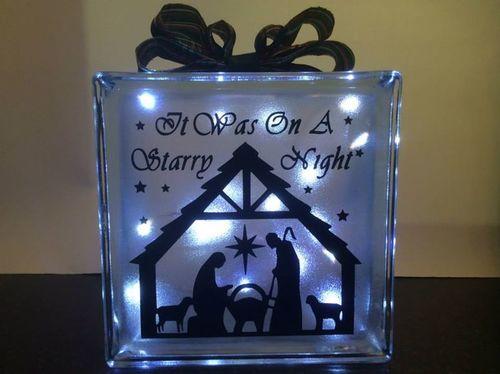 Nativity  Glass Block Tile Design 6x6 inches