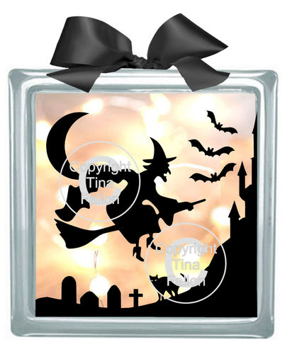 Halloween Witch No2  Glass Block Tile Design