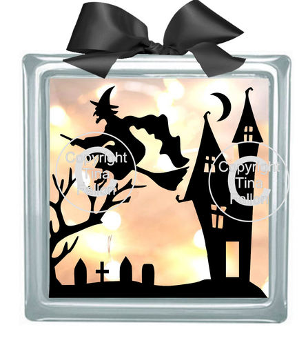 Halloween Witch No3  Glass Block Tile Design