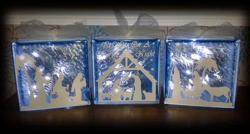 Nativity 3 part set  Glass Block Tile Design 6x6 inches