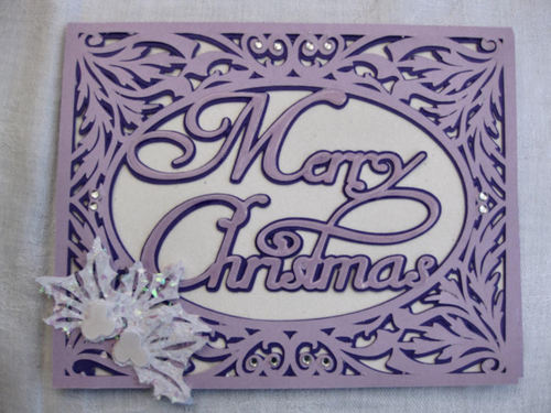 Christmas Card Template - Merry Christmas in a pretty frame setting 2 layered
