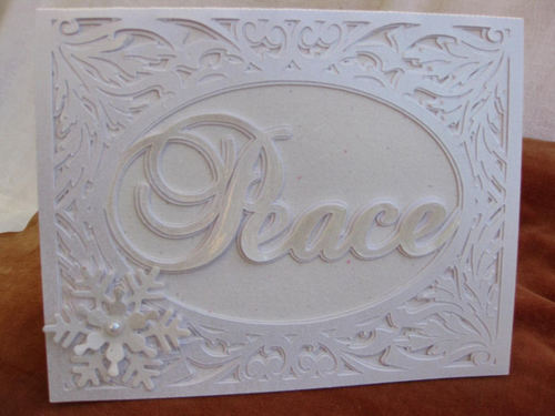 Christmas Card Template - Peace in a pretty frame setting 2 layered