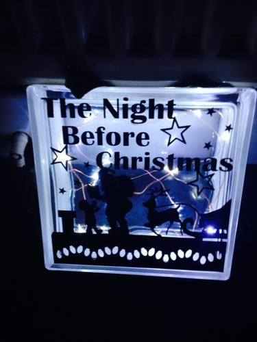Santa ' The Night Before Christmas' Glass Block Tile Design 6x6 inches