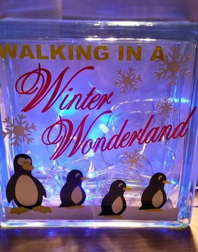 Walking In A Winter Wonderland Christmas Glass Block Tile Design