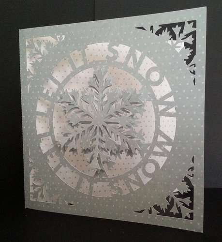 SNOWFLAKE LET IT SNOW CIRCLE - CARD TEMPLATE WITH ADDITIONAL SNOWFLAKE FOR 3D