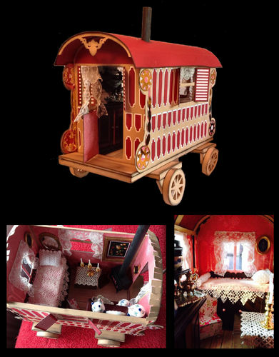 3d Romany Gypsy Caravan A4 HandCut PDF  with interior and gift box