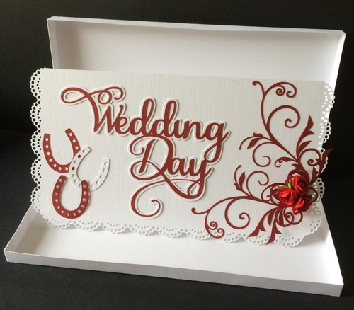 Wedding Card with flourish -  card box included