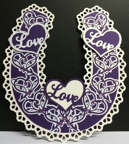 Bridal / Bride Wedding horseshoe  - Ornate Hearts  SVG