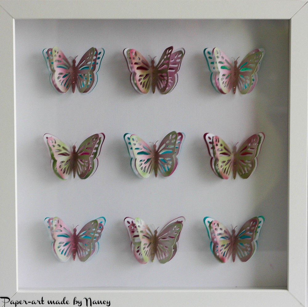 Layered Butterfly Pop Out Collage   design (b)  3 x 3  (9 butterflies ) - svg file